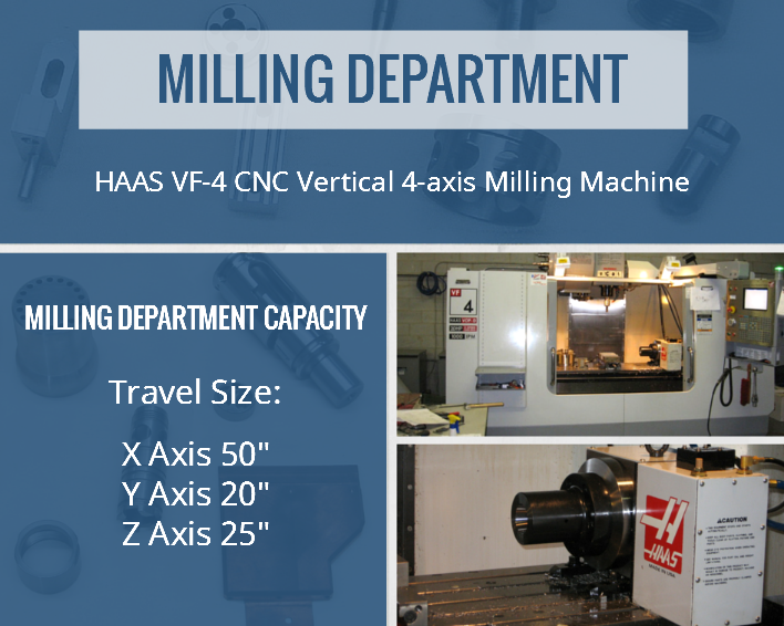 Our Milling Department includes HAAS VF-4 CNC Vertical 4-axis Milling Machine. Milling Department Capacity: Travel Size:  X Axis 50″  / Y Axis 20″ /  Z Axis 25″.