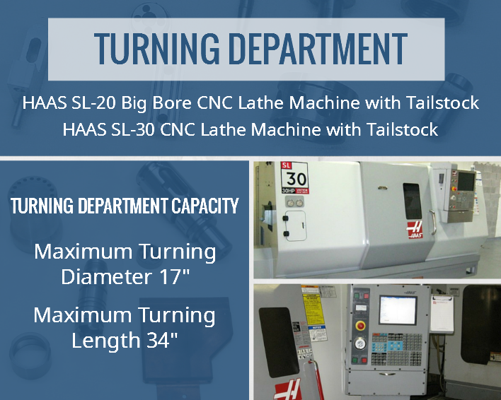 S.H Precision Inc. Turning Department includes HAAS SL-20 Big Bore CNC Lathe Machine with Tailstock and HAAS SL-30 CNC Lathe Machine with Tailstock. Turning Department Capacity: Maximum Turning Diameter 17″, Maximum Turning Length 34″.